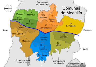 Map of communas en Medellin